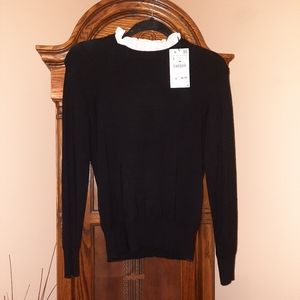 ZARA Women's Knit Sweater with attached ruffled co